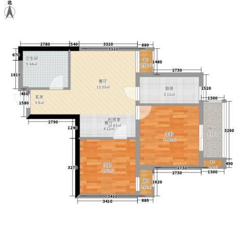 曼城国际2室0厅1卫1厨67.00㎡户型图