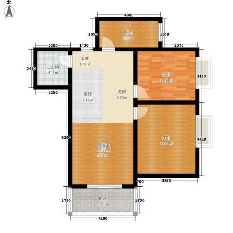 银河新坐标2室0厅1卫1厨90.47㎡户型图