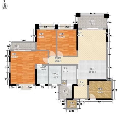 锦绣新天地3室0厅2卫1厨128.00㎡户型图