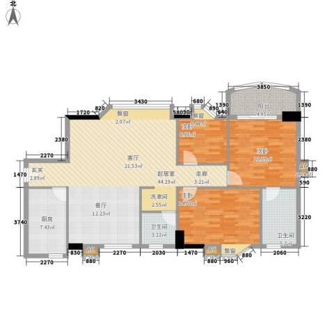 动感华庭3室0厅2卫1厨116.00㎡户型图