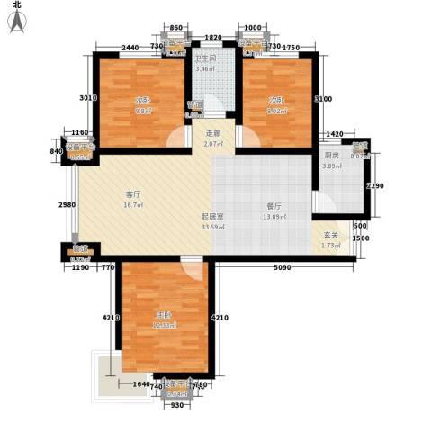 馨港郦景3室0厅1卫1厨107.00㎡户型图