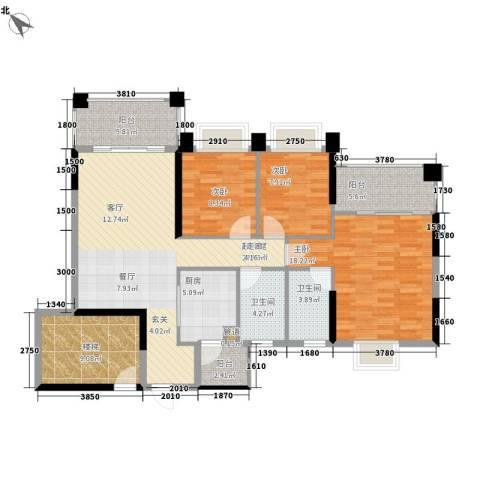 锦绣新天地3室0厅2卫1厨113.00㎡户型图