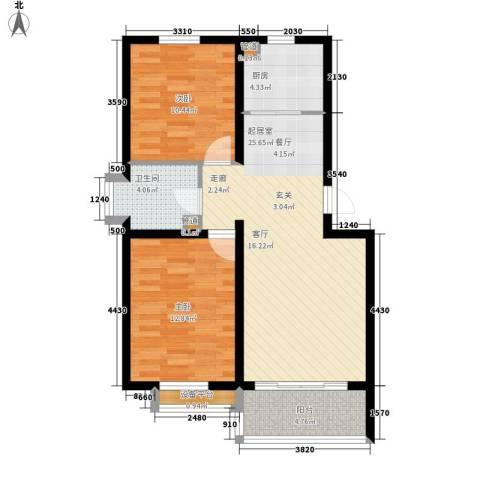馨港郦景2室0厅1卫1厨91.00㎡户型图