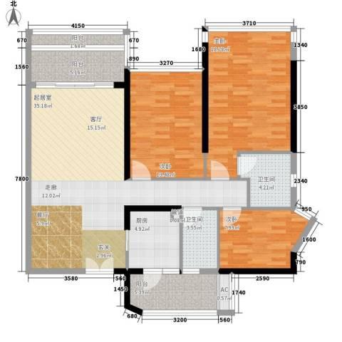 云裳丽影3室0厅2卫1厨115.00㎡户型图