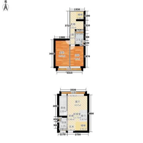 中弘北京像素2室0厅1卫2厨42.94㎡户型图