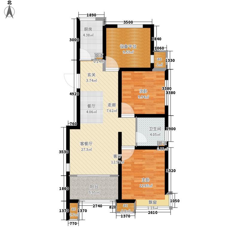 领秀·珊瑚湾89.00㎡高层建筑面积约为D2户型2室2厅