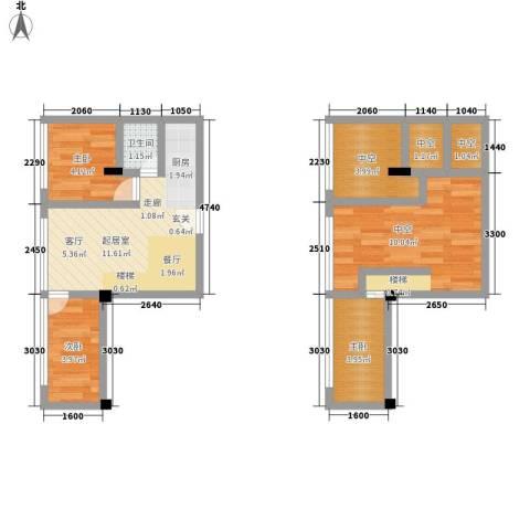 芒果公寓3室0厅1卫0厨50.00㎡户型图