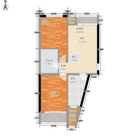 嘉润蓝湾2室0厅1卫1厨96.00㎡户型图