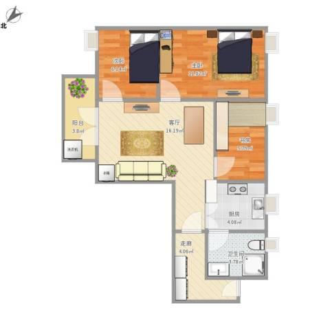 富力半岛花园3室1厅1卫1厨75.00㎡户型图