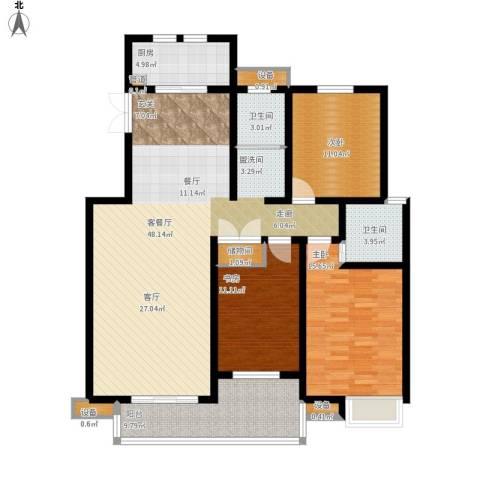 仙龙湾山庄3室1厅2卫1厨160.00㎡户型图