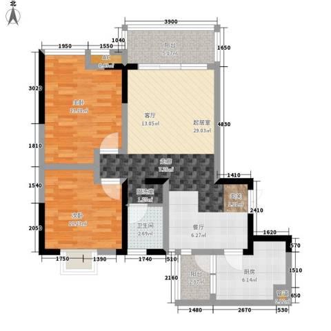 西江月2室0厅1卫1厨90.00㎡户型图
