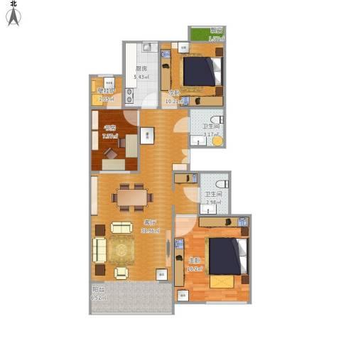 百旺茉莉园3室1厅2卫1厨118.00㎡户型图