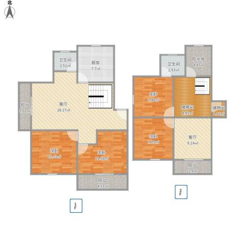 华高新苑北苑4室2厅2卫1厨160.00㎡户型图