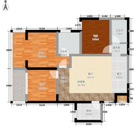 美立方3室0厅2卫1厨124.00㎡户型图
