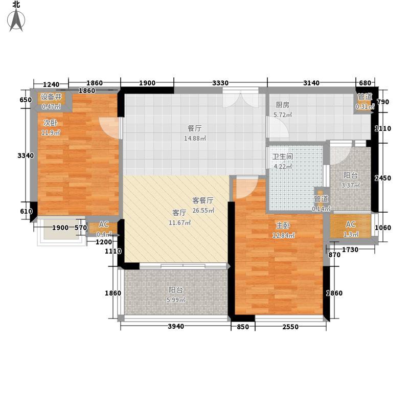 广州新塘新世界花园83.32㎡14栋02单元2室户型