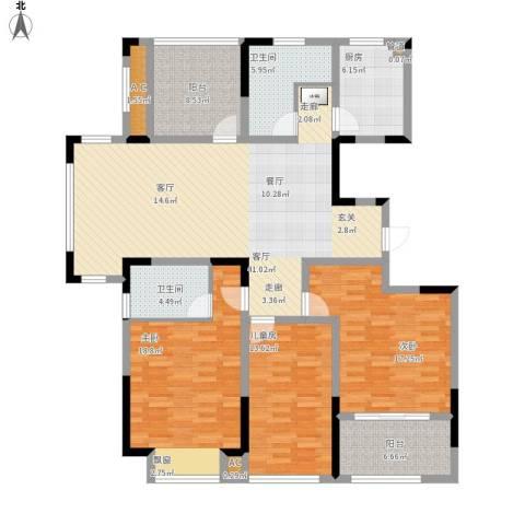 紫元阳光水榭3室1厅2卫1厨178.00㎡户型图