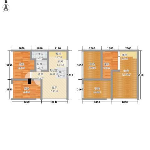 芒果公寓3室0厅1卫1厨64.00㎡户型图