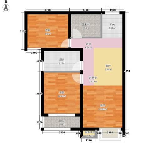 万达广场2室0厅1卫1厨91.00㎡户型图
