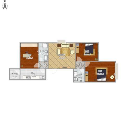 康馨苑3室1厅2卫1厨105.00㎡户型图