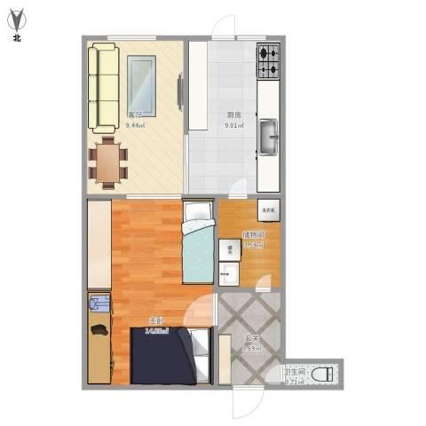 咸阳北里1室1厅1卫1厨56.00㎡户型图
