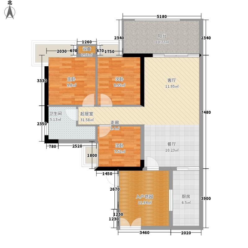 翠城花园104.78㎡20栋4层05单元面积10478m户型