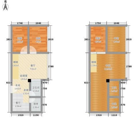 芒果公寓3室0厅1卫1厨63.00㎡户型图