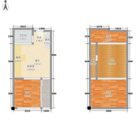芒果公寓3室0厅1卫0厨63.00㎡户型图
