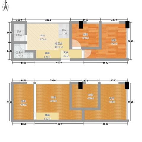 芒果公寓3室0厅1卫1厨60.00㎡户型图