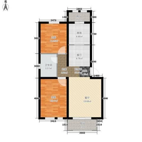 东方国际城2室0厅1卫1厨91.00㎡户型图