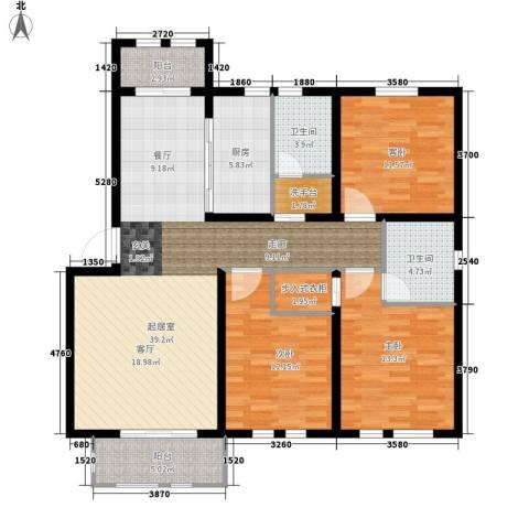 东方国际城3室0厅2卫1厨117.00㎡户型图