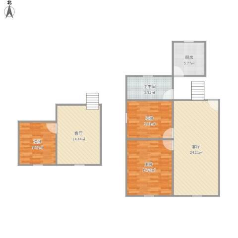 罗山花苑3室2厅1卫1厨111.00㎡户型图
