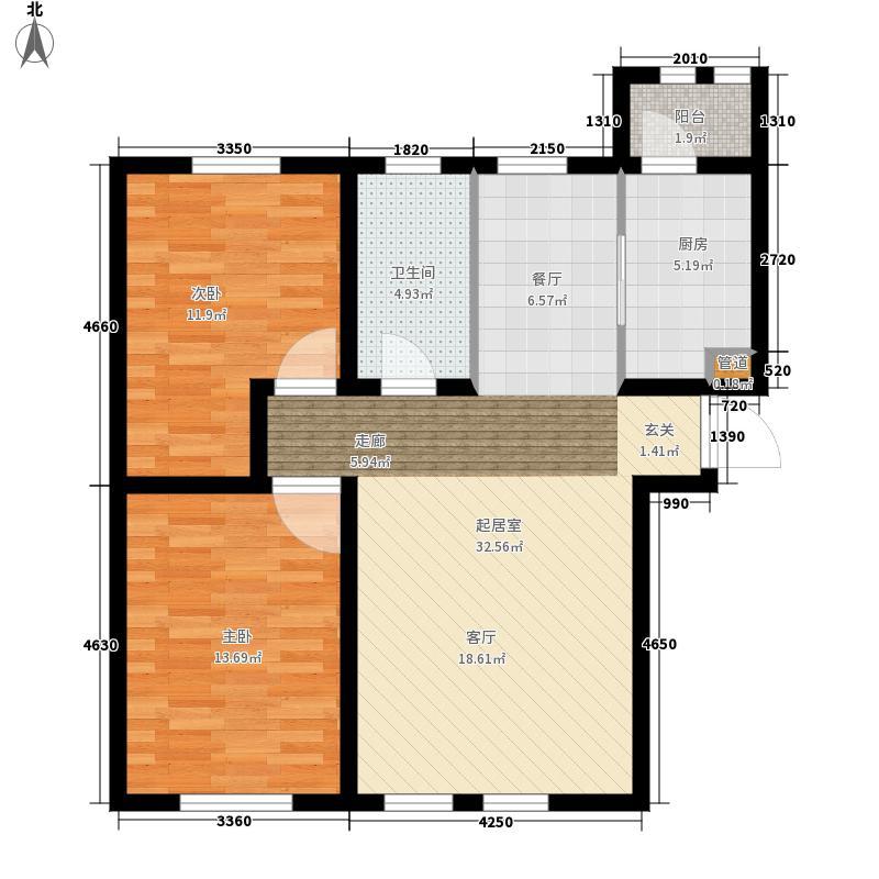 东方国际城80.28㎡6号楼D户型2室2厅1卫