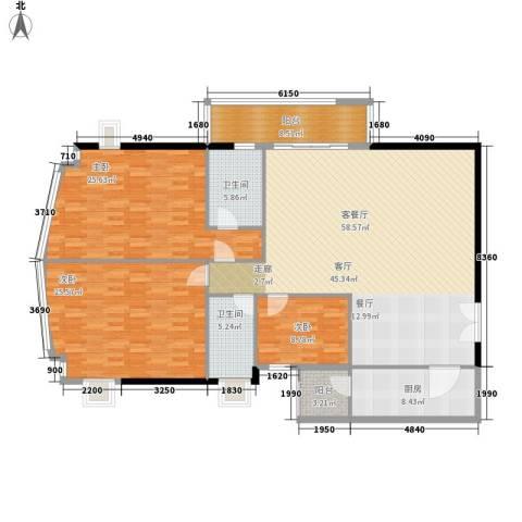 海景花园3室1厅2卫1厨163.00㎡户型图