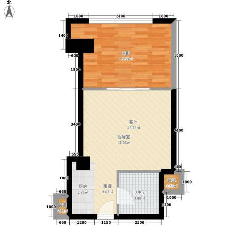 中宏汇景国际1室0厅1卫0厨56.00㎡户型图
