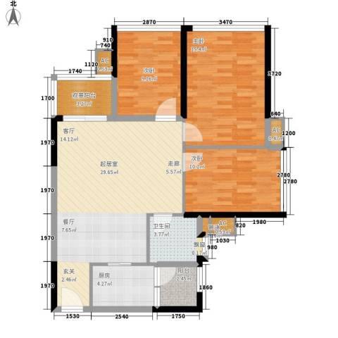 广州雅居乐花园十年小雅3室0厅1卫1厨89.00㎡户型图