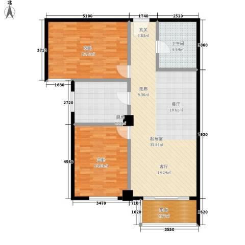 时代明丰苑2室0厅1卫1厨97.00㎡户型图