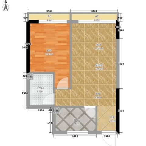 平安摩卡城1室0厅1卫1厨62.00㎡户型图
