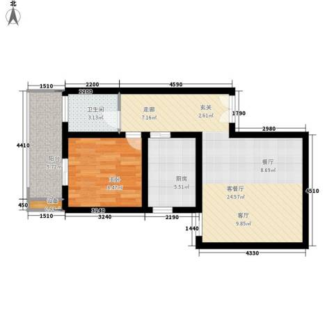 宏林名座1室1厅1卫1厨53.00㎡户型图