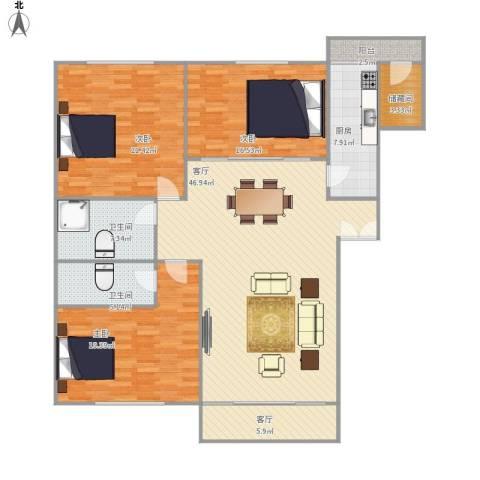 太湖新城3室2厅2卫1厨182.00㎡户型图