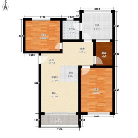 红山派出所宿舍3室1厅1卫1厨83.00㎡户型图