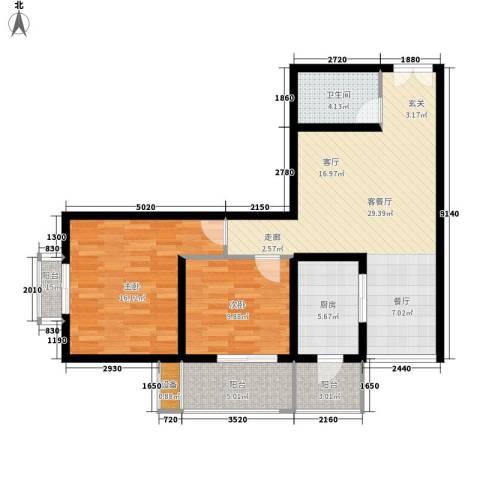 宏林名座2室1厅1卫1厨86.49㎡户型图