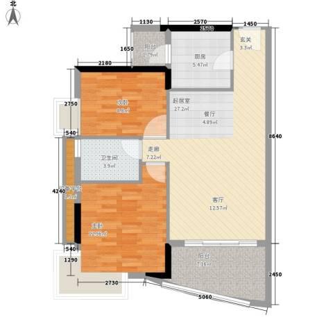 江南新苑2室0厅1卫1厨78.00㎡户型图