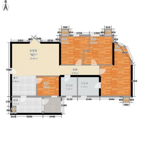 东方之珠花园4室0厅2卫1厨133.00㎡户型图