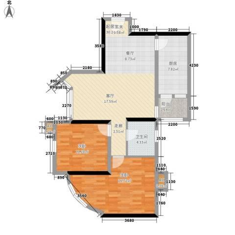 东方之珠花园2室0厅1卫1厨95.00㎡户型图