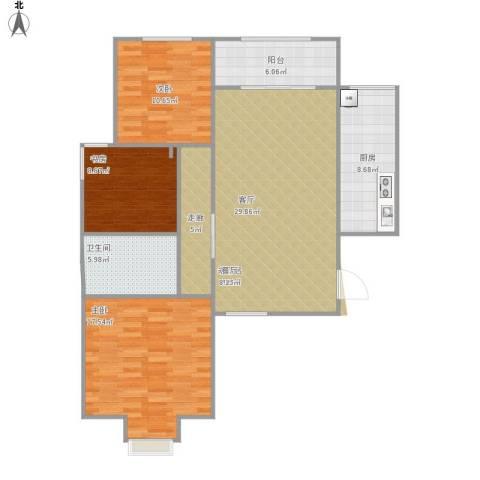 奥龙湾3室1厅1卫1厨124.00㎡户型图