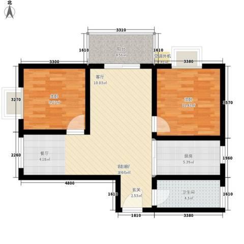 颐馨花园2室1厅1卫1厨80.00㎡户型图