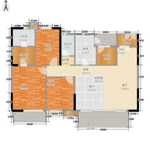 江南新苑3室0厅2卫1厨158.00㎡户型图