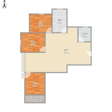 小上海新城三期3室1厅1卫1厨103.00㎡户型图