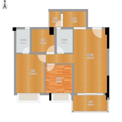 地王广场3室1厅2卫1厨122.00㎡户型图