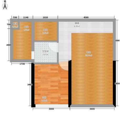 大学印象1室0厅1卫0厨64.00㎡户型图